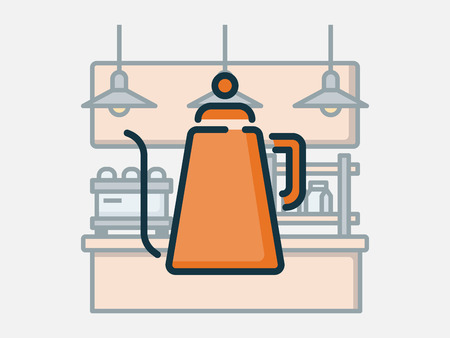 Coffee shop elements vector illustration. Ilustração