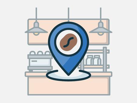 Coffee shop elements vector illustration. Banque d'images - 121251653