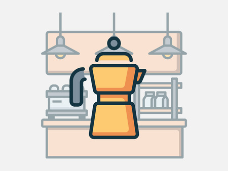 Coffee shop elements vector illustration.  イラスト・ベクター素材