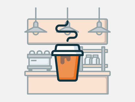 Coffee shop elements vector illustration. Illusztráció