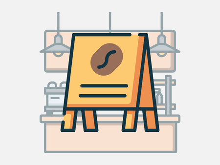 Coffee shop elements vector illustration. 일러스트