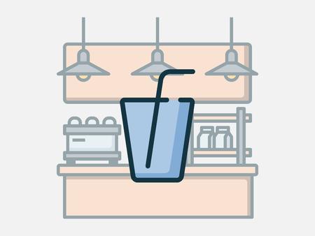 Coffee shop elements vector illustration. Illusztráció