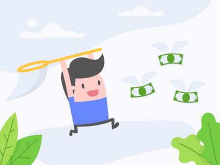 Concept d'illustration vectorielle de poursuite de l'argent. Homme d'affaires attrapant l'argent avec son filet.