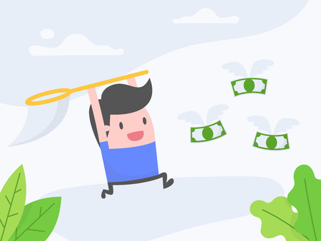 Vector illustration concept of pursuit of money. Businessman catching the money with his net.