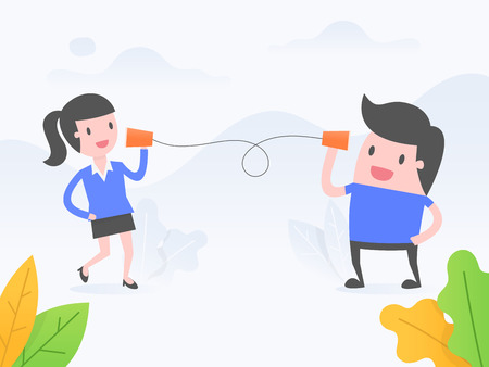 Vector illustration concept of communication. business people talking with paper cup phone.
