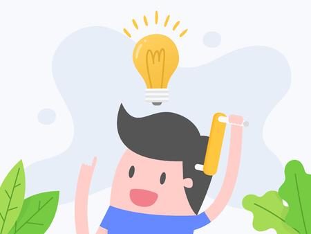 Vektorillustrationskonzept des Denkens. Geschäftsmann, der mit Glühbirne denkt.