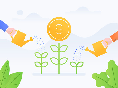 Concept d'illustration vectorielle d'investissement. hommes d'affaires arrosant l'usine d'argent.