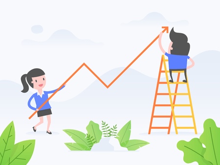 Vector illustration concept of growth. Business people with growth chart.