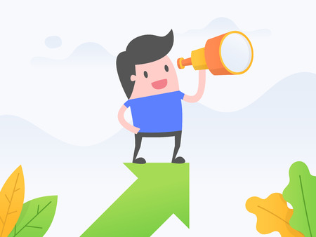 Vector illustration concept of vision. Businessman standing on growth arrow and looking through a telescope.
