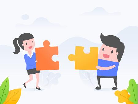 Concept d'illustration vectorielle de coopération, travail d'équipe, solution. personnes connectant des éléments de puzzle.