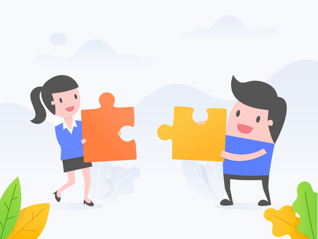 Vector illustration concept of cooperation, teamwork, solution. people connecting puzzle elements.