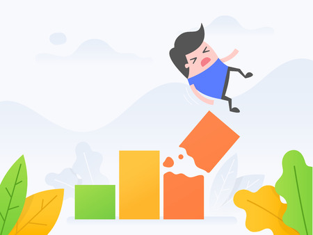Vector illustration concept of business crisis. Young man falling from broken growth chart.