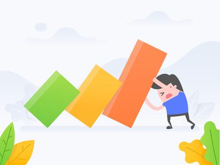 Concepto de ilustración vectorial de crisis, riesgo, stop loss. Hombre de negocios deteniendo la caída del gráfico. Ilustración de vector