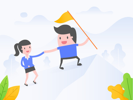 Vector illustration concept of leadership. business people climb to the top of the mountain. 向量圖像