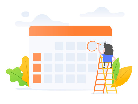 Vector illustration concept of schedule management. young businessman with calendar.