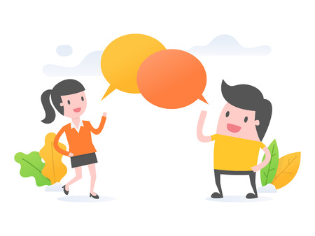 Vector illustration concept of discussion, social network. Two people discussing.