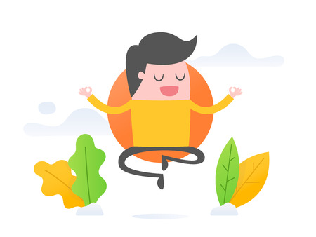 Vector illustration concept of mindfulness. young businessman relaxing and meditating. Illustration