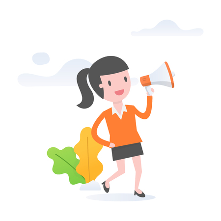 Vector illustration concept of announcement, marketing or sales, young woman holding a megaphone.
