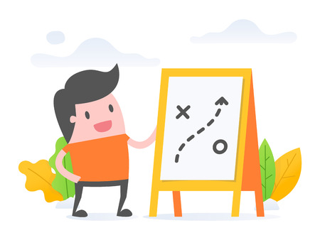 Vector illustration concept of planning. young businessman with strategic planning.