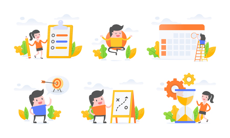 Vector illustration set of productivity, meditation, planning, goal setting, time management.