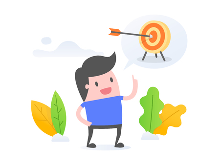 Vector illustration concept of goal setting. young businessman setting his goal.