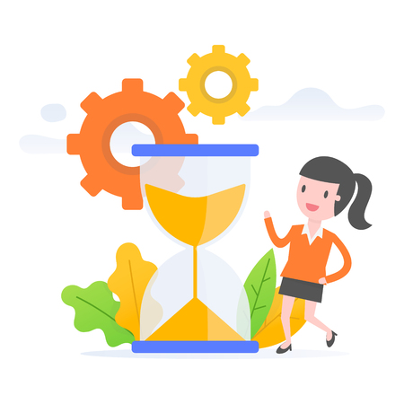 Vector illustration concept of time management. Young business woman managing the time.