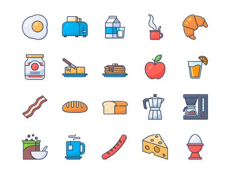 Set of breakfast icons. Fill outline style icon.