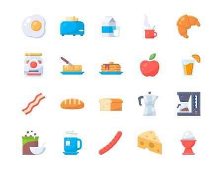 Set of breakfast icons. no outline style icon. Ilustração