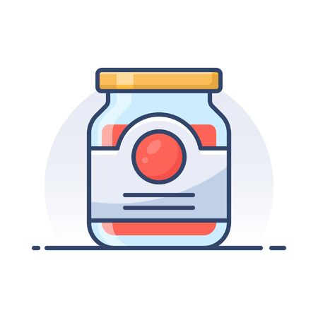 Jam jar. Detailed filled outline icon. Banque d'images - 126256120