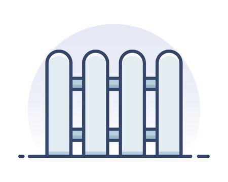 Wooden fence. Filled outline icon. Illustration