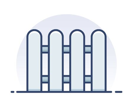 Wooden fence. Filled outline icon.  イラスト・ベクター素材