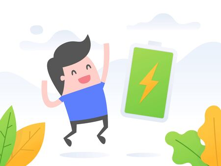 Happy and full of energy businessman. Business concept vector illustration. 向量圖像