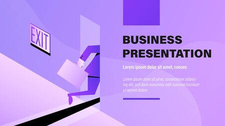 Quitting a Job. Business Presentation Background with Illustration.