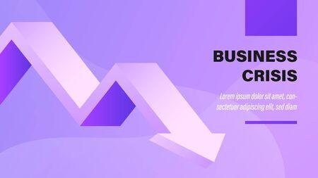 Unternehmenskrise. Business-Präsentation-Hintergrund mit Illustration. Vektorgrafik