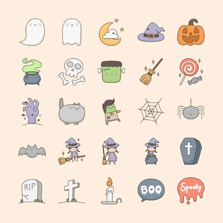 Happy halloween collection. Cute doodle icon related to Halloween.