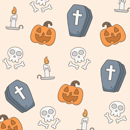 Cute halloween pattern. Doodle illustration related to halloween.