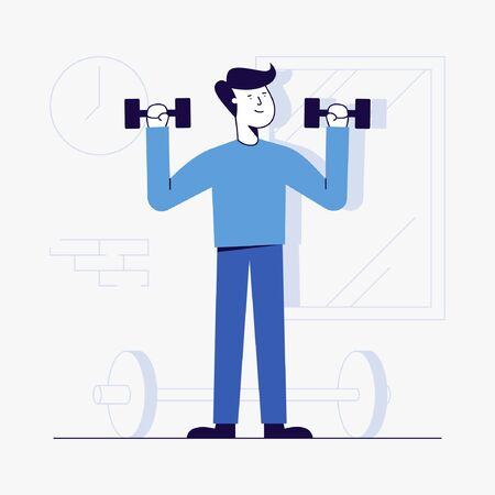 Vector Illustration of young man workout at gym. Banque d'images - 143006238