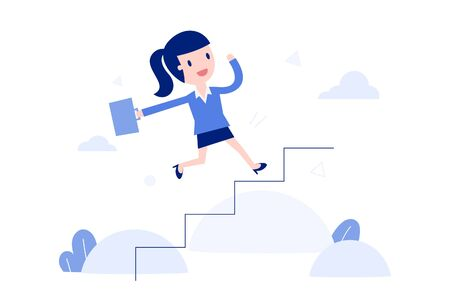 Vector illustration, Concept of self development. Businessman running up stairs.