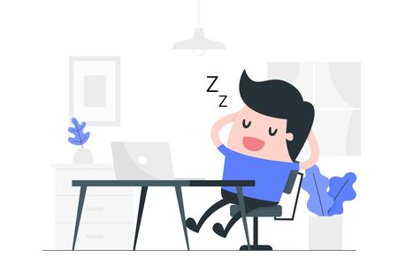 Young man napping at his desk. Resting concept illustration.