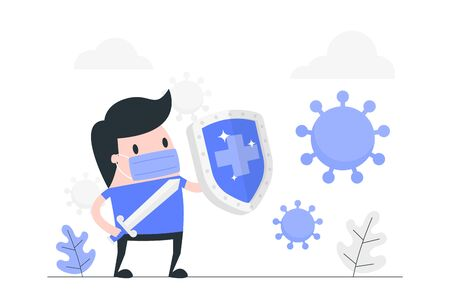 Young man reflect virus attack with shield.