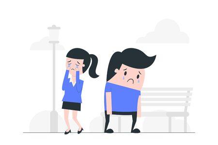 Sad boy and crying girl. Illustration