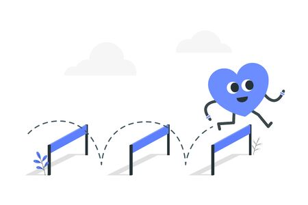 Heart running and jumping over an obstacle.