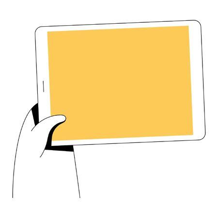 Hand holding phone. Minimal flat linear style illustration. 向量圖像