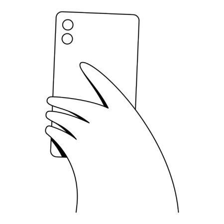 Hand holding phone. Minimal linear style vector illustration.