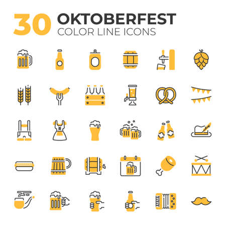 Set of Oktoberfest related icons.