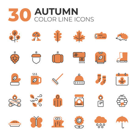 Set of Autumn related icons.