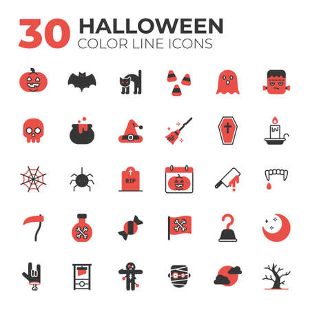 outline style halloween icons