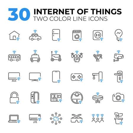 Internet of Things two color line icons. Ilustração