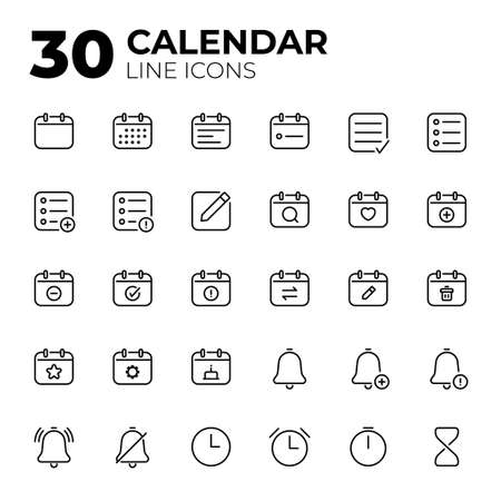Calendar Date and Time line icons.
