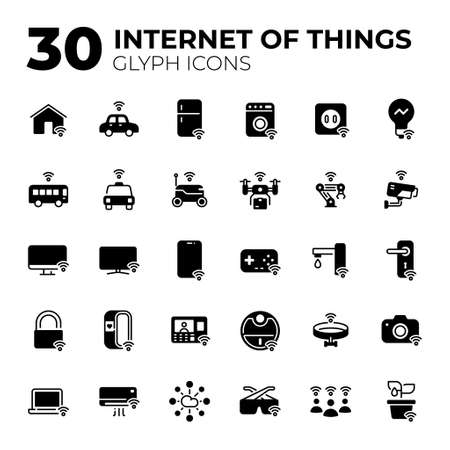 Internet of Things glyph icons.